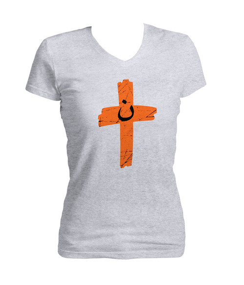 Orange cross project martyr solidarity women 39 s cut v neck for Cross counter tv shirts