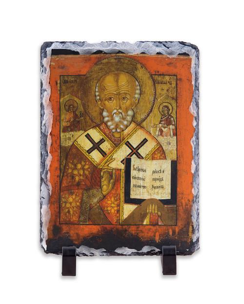 St. Nicholas (Greek Icon) Vertical Slate Tile