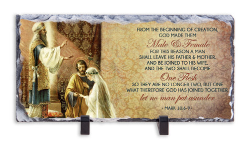 Wedding of Joseph and Mary with Scripture Horizontal Slate Tile