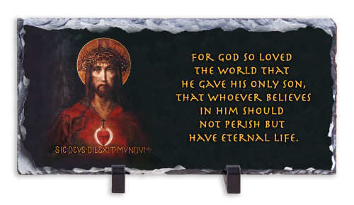 For God So Loved the World with Scripture Horizontal Slate Tile