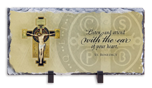 Benedictine Cross with Quote Horizontal Slate Tile