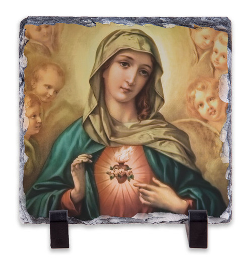 Immaculate Heart Surrounded by Angels Square Slate Tile