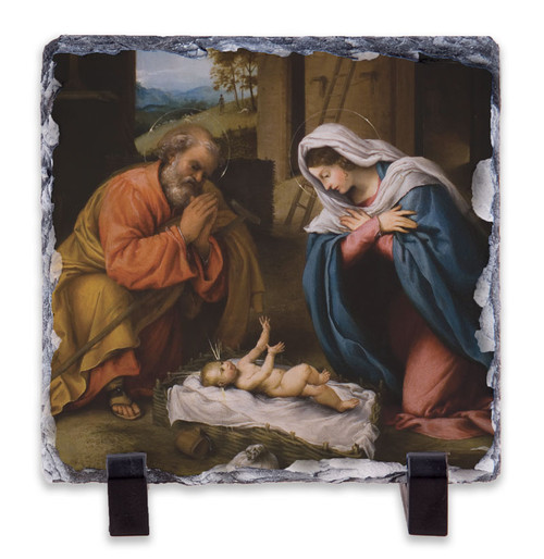 Nativity with Reaching Jesus Square Slate Tile