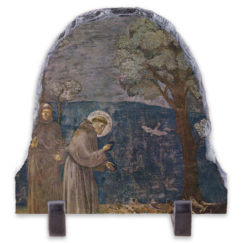 St. Francis with Birds Arched Slate Tile