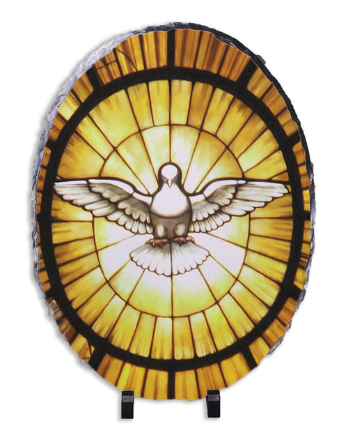 Holy Spirit Oval Slate Tile