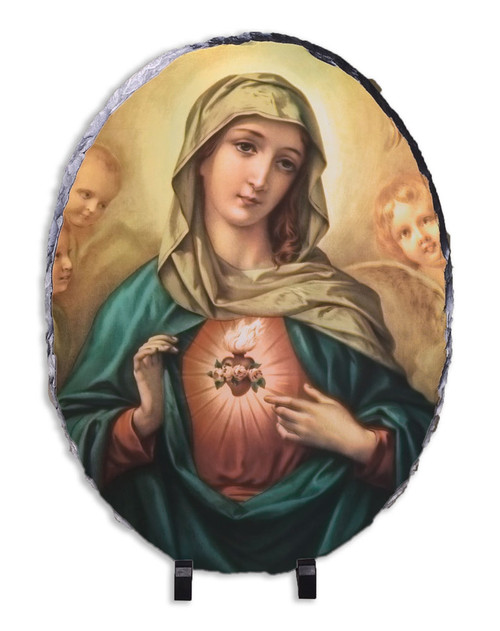 Immaculate Heart Surrounded by Angels Oval Slate Tile
