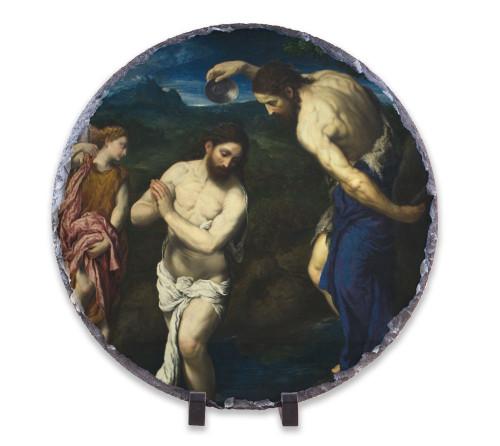 Baptism of Christ by Bordone Round Slate Tile