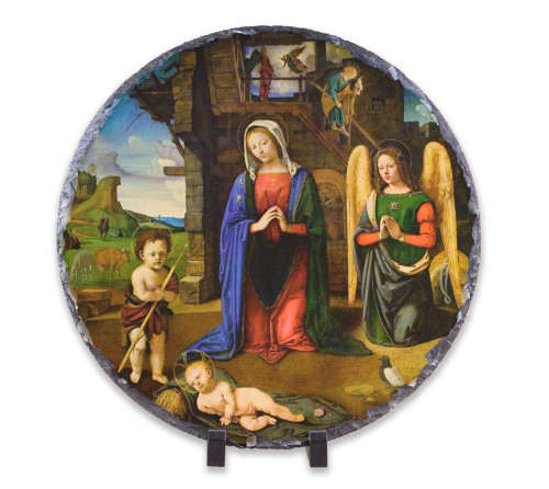 Nativity (Kneeling Angel) Round Slate Tile