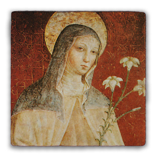 St. Clare of Assisi Square Tumbled Stone Tile