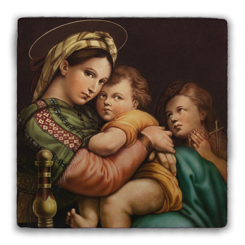 Madonna of the Chair Square Tumbled Stone Tile