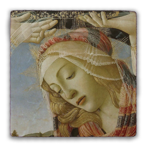 Madonna of the Magnificat (Detail) Square Tumbled Stone Tile