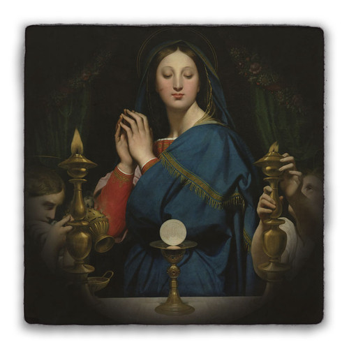 Madonna of the Host Square Tumbled Stone Tile