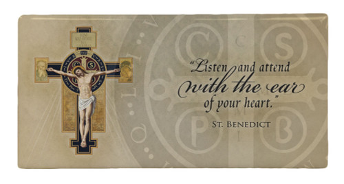 Benedictine Cross with Quote Hi-Gloss Mini Tile