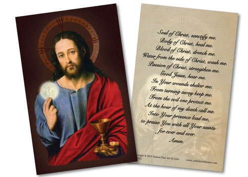 Christ Holding Eucharist Holy Card