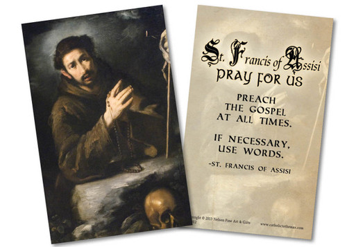 St. Francis in Prayer Holy Card