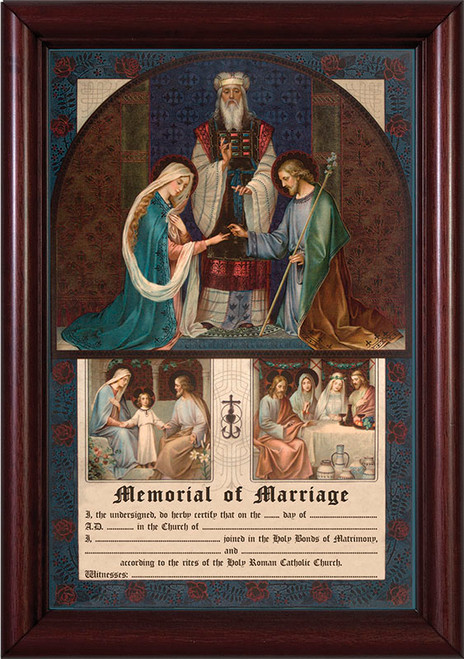 Wedding of Joseph and Mary Memorial of Marriage Cherry Framed