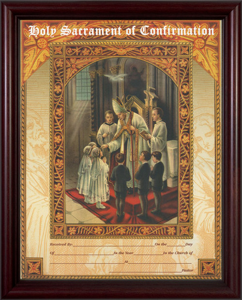 Holy Sacrament of Confirmation Certificate Cherry Framed