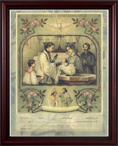 Holy Sacrament of Baptism Certificate - Cherry Framed