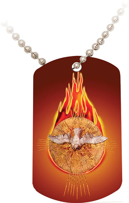 Holy Spirit Fire Red Dog Tag