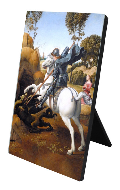 St. George (Dark Armor) and the Dragon Vertical Desk Plaque