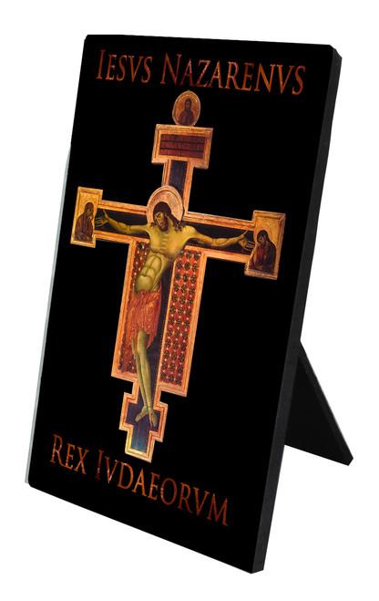 Byzantine Crucifix with I.N.R.I. Vertical Desk Plaque