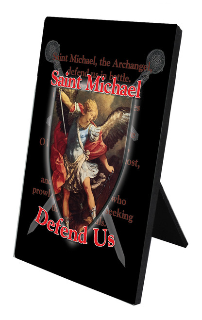 St. Michael Defend Us Vertical Desk Plaque