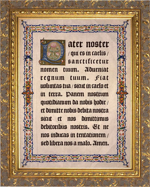 Latin Our Father Gold Framed Art