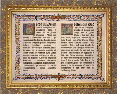 Latin-English Apostles Creed Gold Framed Art