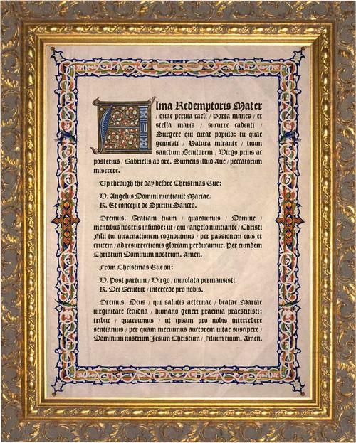 Latin Alma Redemptoris Mater Gold Framed Art
