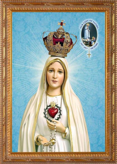 Fatima 100 Year Anniversary Canvas - Ornate Gold Framed Art