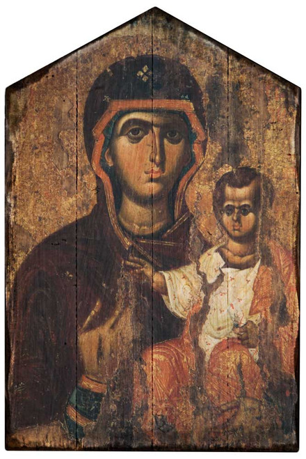 Madonna and the Child Jesus Rustic Wood Icon Plaque