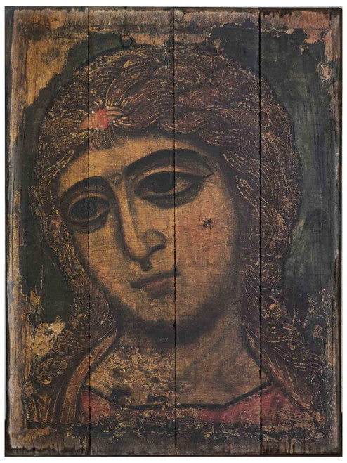 Archangel Gabriel Rustic Wood Russian Icon Plaque