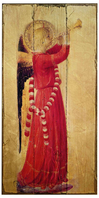 Fra Angelico Angel with Trumpet Rustic Wood Plaque