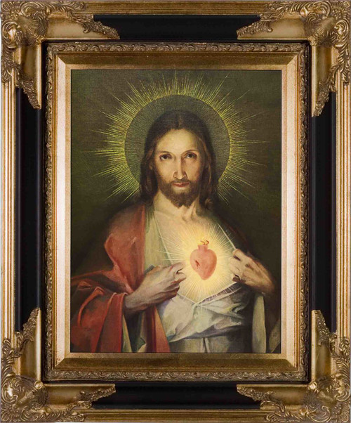 Polish Sacred Heart Canvas - Black and Gold Framed Art