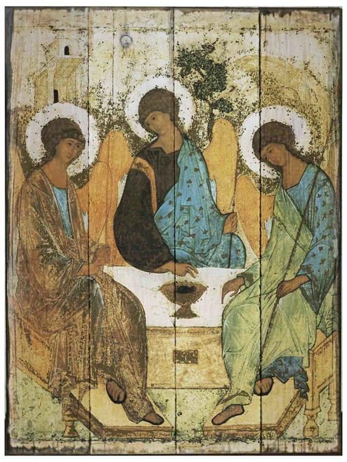 Trinity Angels Rustic Wood Icon Plaque