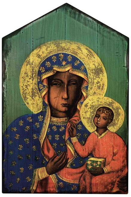 Our Lady of Czestochowa Rustic Wood Icon Plaque