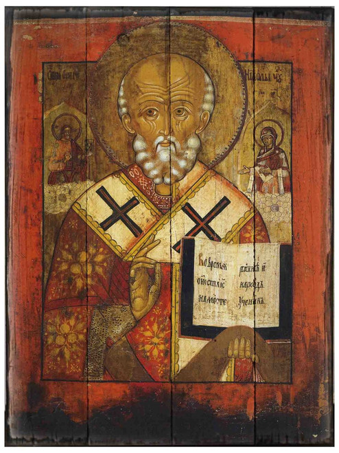St. Nicholas (Greek) Rustic Wood Icon Plaque