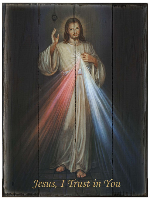 Divine Mercy (Hyla) Rustic Wood Plaque