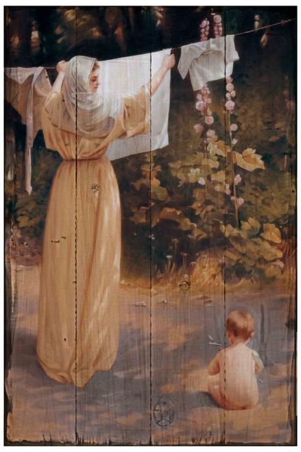 Polish Madonna Rustic Wood Plaque