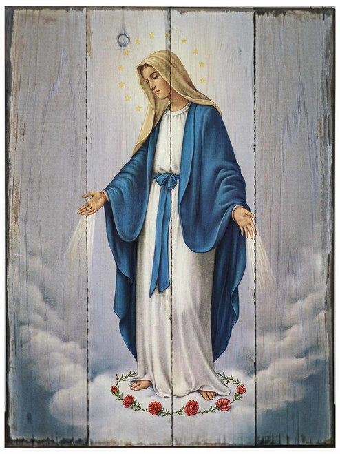 Our Lady of Grace Rustic Wood Plaque