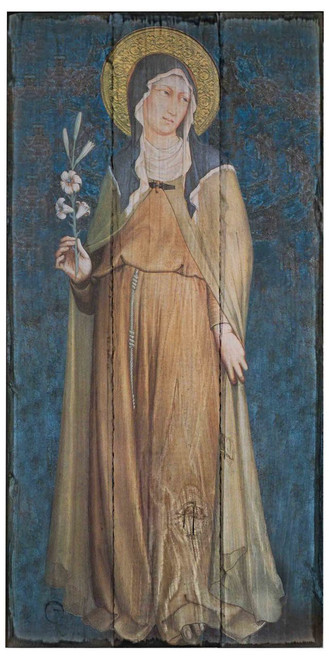 St. Clare Rustic Wood Icon Plaque