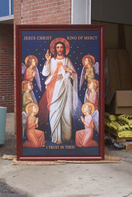Church-Sized King of Divine Mercy Canvas Cherry Framed Art