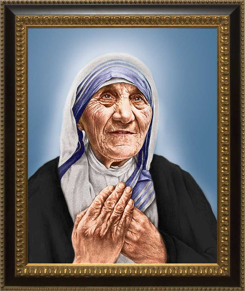 St. Teresa of Calcutta Canvas Canonization Portrait: Ornate Black and Gold Frame