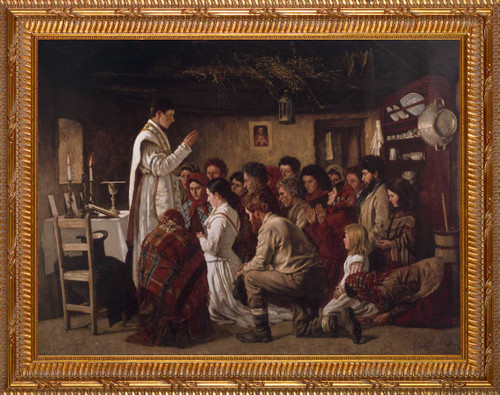 Mass in a Connemara Cabin - Gold Framed Art
