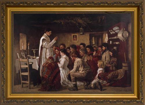 Mass in a Connemara Cabin - Gold Framed Canvas
