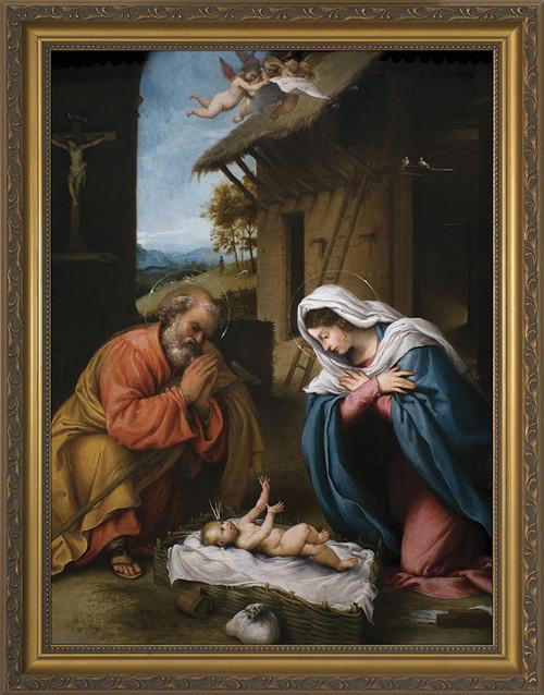 Nativity by Lorenzo Lotto Church-Sized Canvas Art
