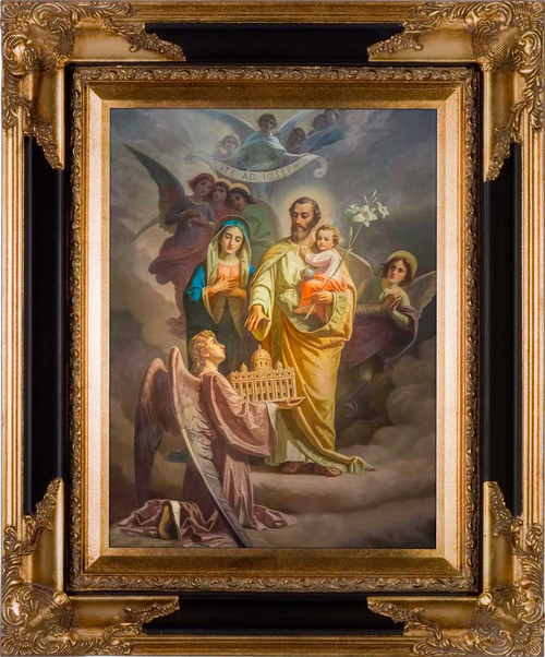 Joseph, Patron of the Church Canvas - Black & Gold Museum Framed Art