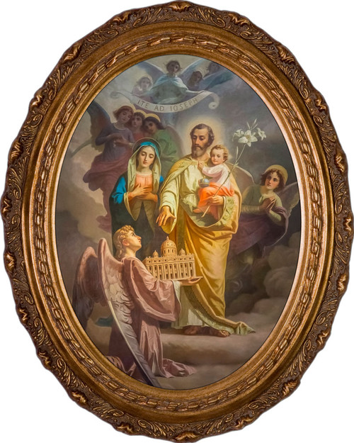 Joseph, Patron of the Church Canvas - Oval Framed Art