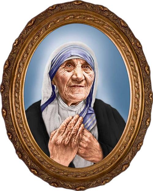 St. Teresa of Calcutta Canonization Portrait Canvas - Oval Framed Art