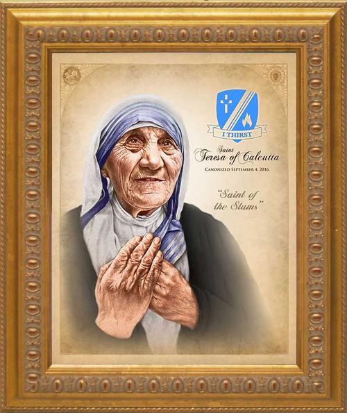 Commemorative St. Teresa of Calcutta Canonization Canvas Portrait: Ornate Gold Frame